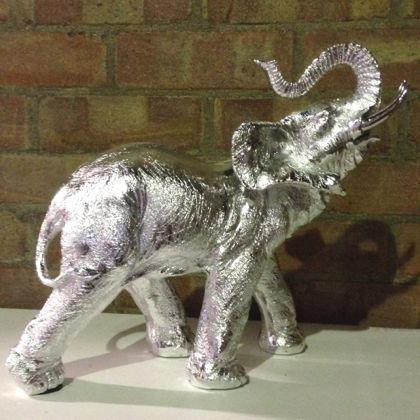 Silver elephant ornament statue jungle animal figure table decor home interiors gift Silver elephant home decor