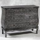 black metal embossed drawers with floral detail
