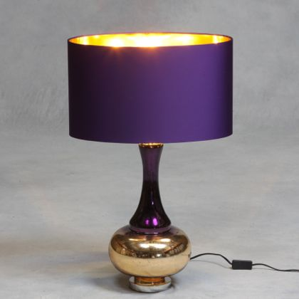 Bulbous Purple Glass Lamp With Gold Base And Hard Oval Shade That Is [purple  On