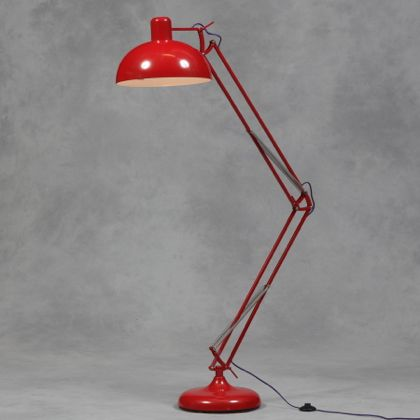 Red Floor Lamp Angle Poise Retro Lighting Glam Style