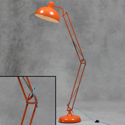 Orange floor lamp angle poise retro lamp industrial lighting mens room value home decor stylish - Large anglepoise lamp ...
