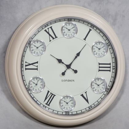 Large Cream Multi Dial Clock Extra Large Wall Clock
