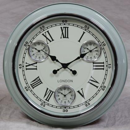 blue retro multi dial clock contemporary pale blue home