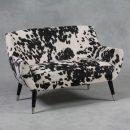 cream and black cowhide sofa retro style 2 seater