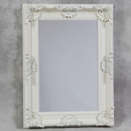 Large white framed mirrors