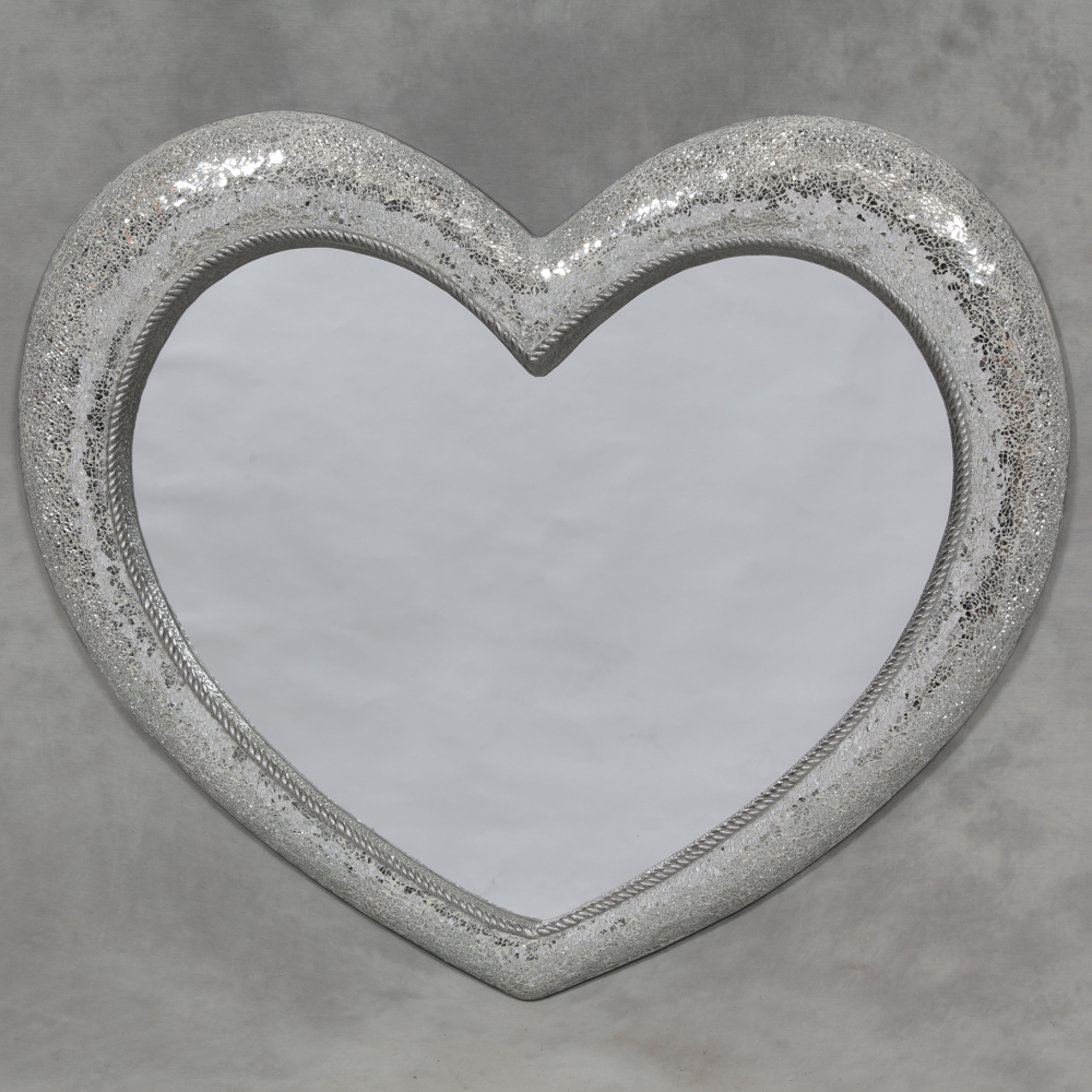 Large mosaic glass heart mirror large mirror sparkly for Mirror large