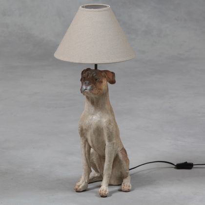 Dog Table Lamp With Cream Shade