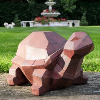 This geometric tortoise ornament is meant to be out amongst the flowers on the summer patio. Delightful gift, great value. 29 x 37 x 53cm 5 kg