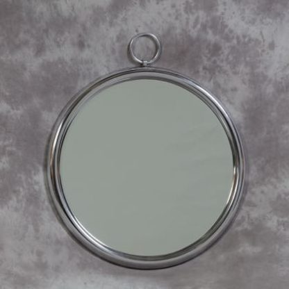 This unusual silver loop round mirror is made of highly polished aluminium. A ring at the top is used to hang it from. Measure 70 x 60 x 3cm (53x53cm glass)