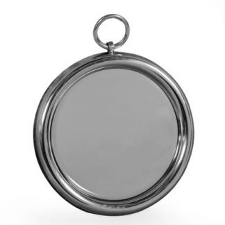 This small round mirror has a super smooth polished aluminium finish. With a loop at the top, it maybe small but is beautifully formed. 38 x 38 x 3cm