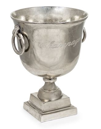 Large champagne cooler makes a fantastic statement. Antiqued aluminium, perfect as an ice bucket or vase! H38 x W32 x D29cm. Gift or Party - it's perfect!