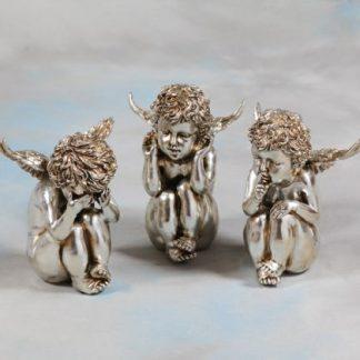 3 Silver Sitting Cherubs