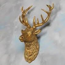 large gold stag head wall decor
