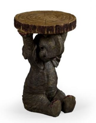 This grey elephant side table can be used as a lamp table or a bedside table too. Measures 52 x 36 x 36cm and is an elephant sitting down holding a slice of tree trunk above his head