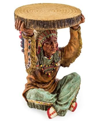 This Native American chief side table is just perfect for the childrens room. Super styling, colour and finishMeasures 52 x 35 x 32cm and is made of resin.