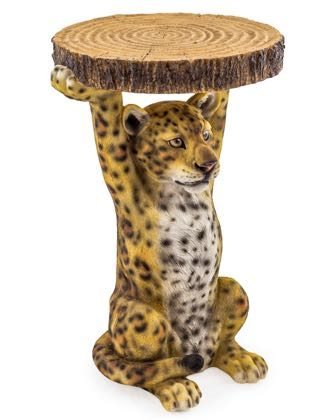This leopard side table is so well finished you want to stroke him! Great in any room. Beautiful quality and measures 52 x 35 x 32cm . Good Value too.