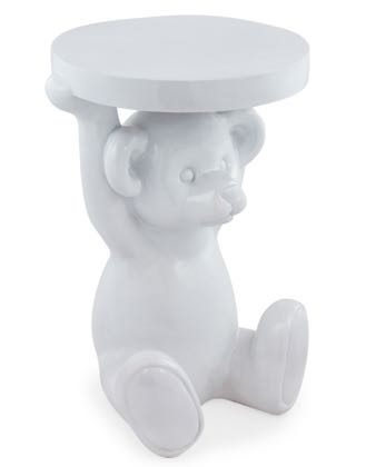 This stunning glossy white teddy bear side table is a must have in the nursery this year. Perfect complement to all colour schemes. Measures 54 x 32 x 35