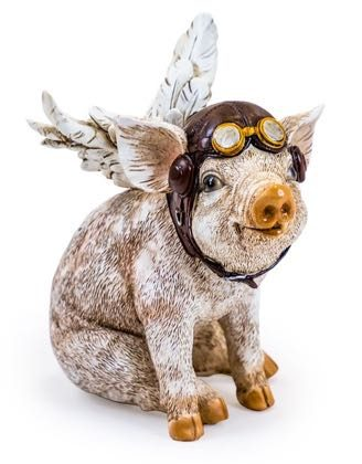 Welcome to our unbelievably cute flying pig ornament. Hand finished very detailed resin sitting piglet pilot figure. 15.5 x 14.5 x 10cm. Christmas gift.