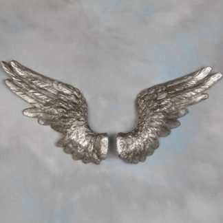 silver angel wings large wall hanging