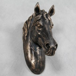 bronzed horse head wall decor antiqued black and gold