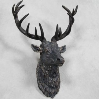 large bronzed stag head wall hanging black and bronze with antlers