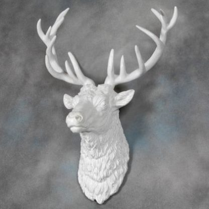 large white stag head wall decor