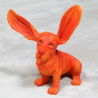 Orange Basset Hound Ornament with surprised ears called Brian