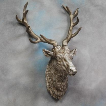 large antiqued silver stag head wall decor