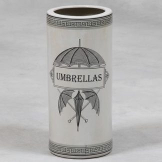 White Ceramic Umbrella Stand with black detail. This measures H47 x W21 x D21cm. Great addition to your home and would look great in the hallway.
