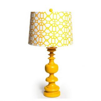 Stunning mustard yellow column lamp- super styled, finished with a white drum shade with a geometric pattern. 68 x 50 x 50cm