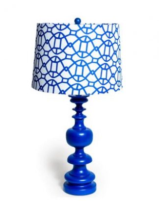 Brilliant blue patterned column lamp- super styled, finished with a white drum shade with a geometric pattern. 68 x 50 x 50cm