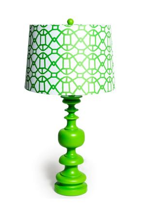 Groovy green patterned column lamp- super styled, finished with a white drum shade with a geometric pattern. 68 x 50 x 50cm