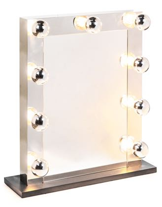 This stylish silver Hollywood table mirror is superb quality and price. Takes 9 LED bulbs, treat yourself like a star! Freestanding H76 x W61 x D8cm