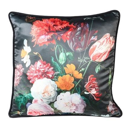 This luxurious black cushion has an array of big blousy flowers over the front of it. Gives a feel of Ted Baker.Feather inner. 45 x 45cm. Great value, buy 2