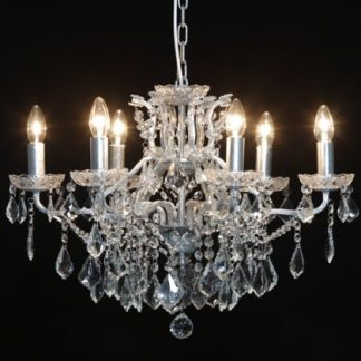 This superb silver shallow chandelier 6 comes with 6 branches, adorned with crystals. Style, elegant and great value for money too! 48 x 64 x 64cm