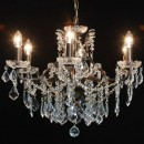 Dazzle your home with this medium sized bronze shallow chandelier 6 branch. Simply sparkly, adorned in crystals, quality, style and elegance! 48 x 64 x 64cm