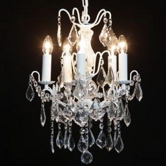 Take a look at this stunning ivory french chandelier 5 branch! Visually amazing, dripping with elegance, measuring 60cm x 40cm x 40cm.