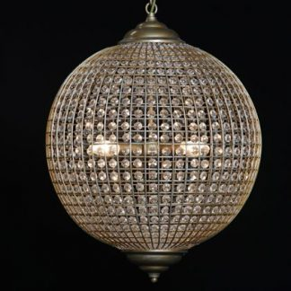 Get a load of this amazing large gold globe chandelier. A sphere of glass drops dripping with elegance. Measures H60 x W50 x D50cm. Takes 4 x E14 bulbs.