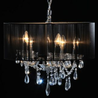 This black shade chandelier is elegant and fabulously stylish!  Light shines through the ribbons that make up the shade. A real favourite! 43 x 50 x 50cm