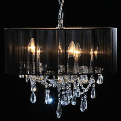 Black Shade Chandelier Glamourous Lighting Interiors Home