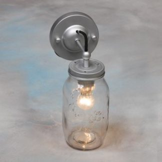 jam jar wall light with black flex