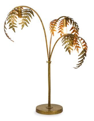 This elegant golden palm leaf table lamp is a marvellous colour with exquisite detailing and finish. Measures 86 x 60 x 60cm. Great handfinish and value!