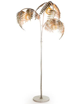 Look at this silver palm leaf floor lamp. Tall and elegant, hand finished and so original. Takes 3 x E27 bulbs. A showstopper for sure! H186 x W96 x D96cm