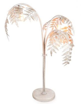 This super silver palm leaf lamp is the perfect table lamp. Painted 'fronds' attached to 3 stems. 3 x E14 bulbs. Great value, colour, finish. 86 x 60 x 60cm