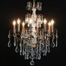 Antiqued bronze french chandelier 8 branches
