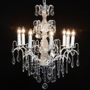 A gorgeous 8 branch white french chandelier. Dripping with glass droplets. H70 xW60 x D60cm (not include chain or ceiling fixings) Fabulous value and style.