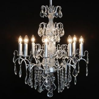 large silver French 8 branch chandelier brushed silver paint work myriad of cut glass droplets a classical light measures 70 x 60 x 60cm