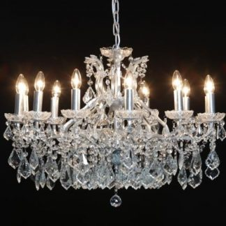 This beautiful 12 branch shallow chandelier is a stunner! 88 x 88 x 62cm. Perfect in any interior scheme. Takes 12 x E14bulbs . Super style and value.