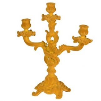 Imagine this fabulous yellow flock candelabra as the stunning centrepiece to your dining table once lockdown has liffted! 35 x 30 x 13cm. Made of resin.
