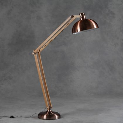 Our large retro copper wood floor anglepoise lamp has modern materials and style. 190 x 36 x 36cm. Copper base and shade. Wooden arms, black and white flex.
